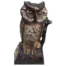 Moving Head Glass Eyes Old Cast Iron Owl Bank J. E. Stevens - Red Tag Sale Item