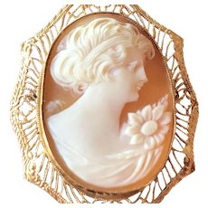 Carved Shell Cameo with Filagree 10Kt Gold Frame  Very Lovely