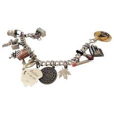 Vintage Sterling Silver Charm Bracelet 13 Charms Beer Secretary More