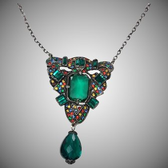 Colorful Vintage Rhinestone Necklace w/ Glass Bead Drop