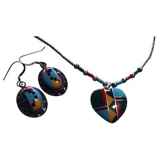 Native Zuni Stone Inlay Sterling Set Necklace Earrings