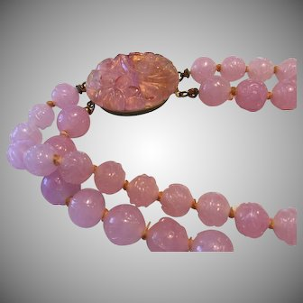 Hand Knotted Etched Design Rose Quartz Stone Necklace
