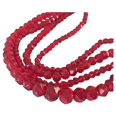 Luscious Long Vintage Red Molded Glass Bead Necklace