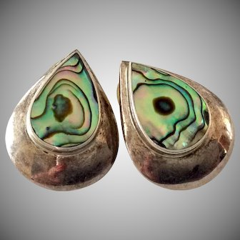 Sterling Silver Stud Earrings with Vibrant Shell