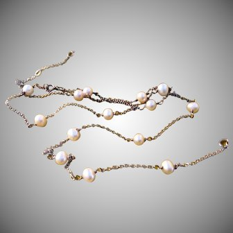 Sterling Silver Chain Set with Cultured Pearls Necklace Bracelet