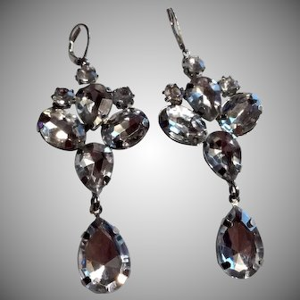 Long Drippy Dangle Rhinestone Earrings Pierced Ears