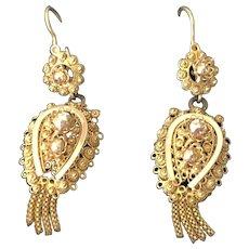 Antique Georgian Cannetille Day Night Earrings