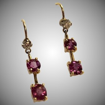 Fantastic 14K Diamond and Pink Sapphire Earrings