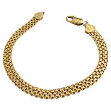 Wide Mesh 14K Yellow Gold Bracelet