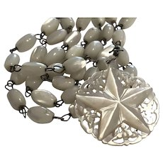 Mother of Pearl Carved Star Pendant Beads Necklace