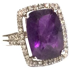 Stunning Large Amethyst Stone Diamond 14K Ring