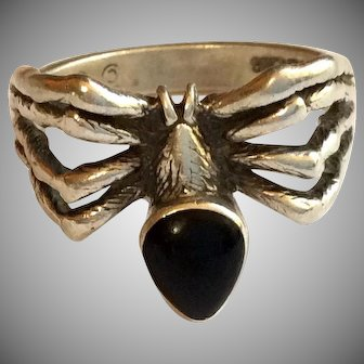 Nice Sterling Silver Spider Ring Onyx Body