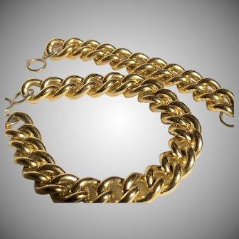 Extra Large Golden Link Necklace Bracelet set