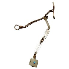 Watch Chain with Mother of Pearl Fob Dice Good Luck
