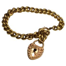 Victorian Chain Bracelet with Puffy Heart Lock Charm