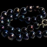 Tahitian South Sea Black Cultured Pearls 13-15mm Peacock Purple