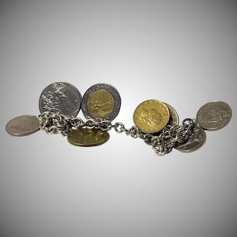 Sterling silver Bracelet with 8 Italian Coin Charms