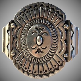 Large Native American Cuff Bracelet Sterling Vintage