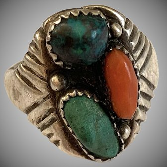 Turquoise and Coral Native Sterling Ring