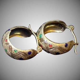 Unique 14 Karat Yellow Gold Hoop Earrings Enamel Dots