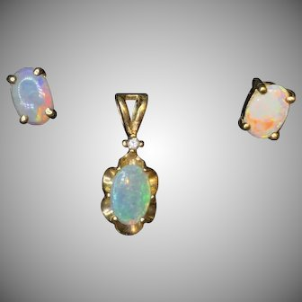 Solid Opal Set in 14K Yellow Gold Pendant Earrings