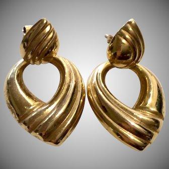 Signed 14K Yellow Gold Knocker Earrings 6.4 gms