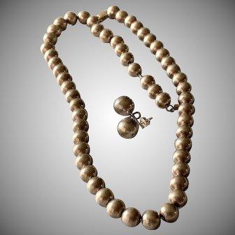 19 Inch Sterling Silver Set Bead Necklace Earrings