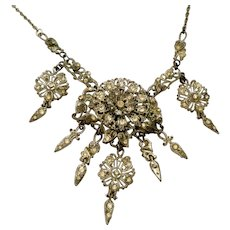 Vintage Antique Rhinestone Festoon Dangles Necklace