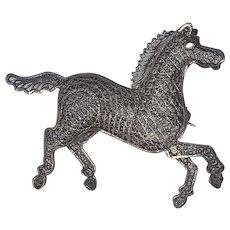 Large Spun Sterling Horse Pin