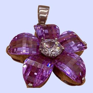 Huge Faceted Purple Amethyst Crystal Pendant Showstopper