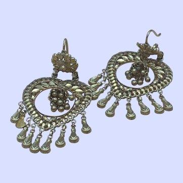Long 22K Yellow Gold Heart Shaped Dangle Earrings with Fringe