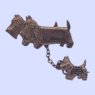 Victorian Scotty Dog Pins with Chain Rolled Gold