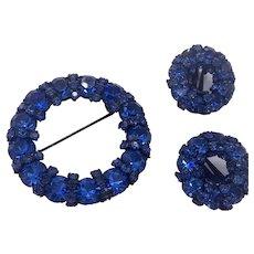 Fantastic Deep Blue Rhinestone Set by Warner Vintage Pin Earrings