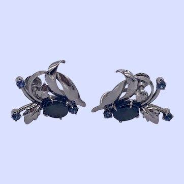 Vintage 14K White Gold Blue Star Sapphire Earrings with Screw backs
