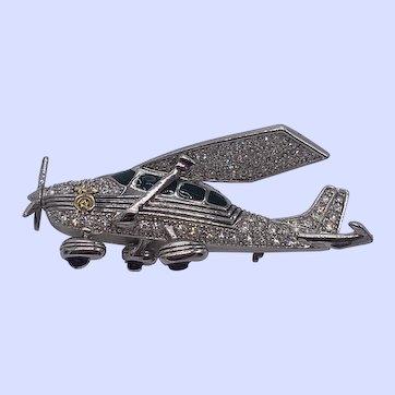 Signed ABA Vintage Rhinestone Airplane Pin Brooch