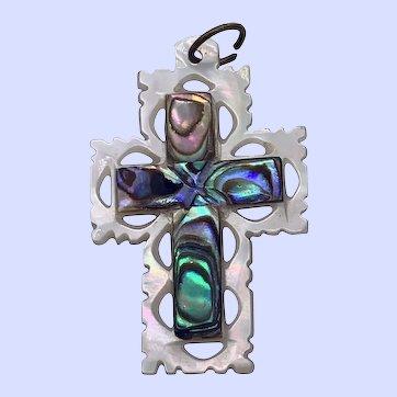 Lovely Vintage Cross Pendant of White MOP and Vibrant Paua Shell