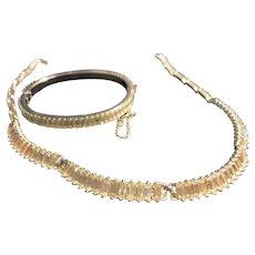 "Beautiful Vintage Baguette Rhinestone Set 18"" Necklace Bracelet"