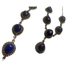 Silver Lapis Lazuli Set Necklace Bracelet