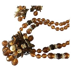 Just Reduced Vintage Brown Glass Beaded Set Necklace Earrings