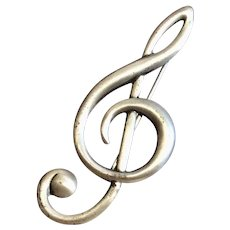 Sterling Silver Signed Danecraft Pin Musical Note