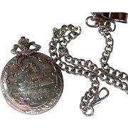 Pocket Watch Ornate Train w/ Chain Vintage Beautiful Not Working