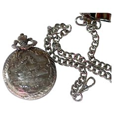 Pocket Watch Ornate Train w/ Chain Vintage Beautiful Not Working