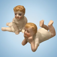 Pair German All Bisque Babies for Dollhouse or Piano Babies