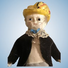 "7 1/2"" Early Wax Over Paper Mache Boy In Old Clothing, Great Small Size"