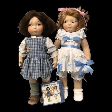 Rose O'Neill Inspired Ragsy and Ritzi Felt Artist Dolls by Haut Melton