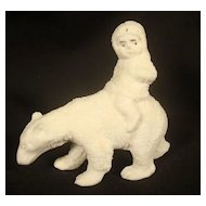 Vintage Bisque German Snowbaby Riding a Polar Bear