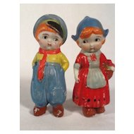Great Pair of Vintage Dutch Bisque Immobile Dolls Japan