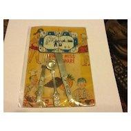 Stamped Tin JAPAN Doll Flow Blue Kitchenware on Original Card