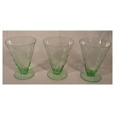 Rare Set of 3 Vintage Fostoria Green Optic Loop Glass Footed Tumblers 4100