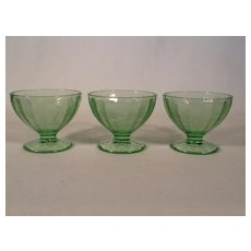 3 Green Floral Poinsettia Sherbet or Champagne Dishes Depression Glass by Jeannette Glass Co